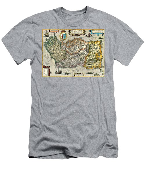 Men's T-Shirt (Athletic Fit) featuring the painting Map Of Ireland By Boazio by Val Byrne
