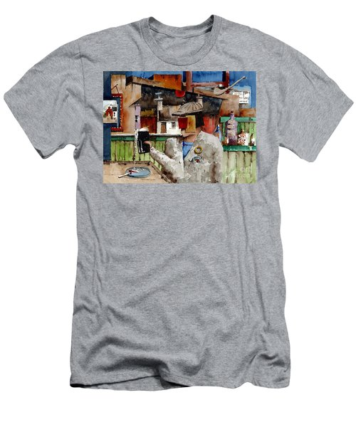 Men's T-Shirt (Athletic Fit) featuring the painting More Thro The Window On The World by Val Byrne