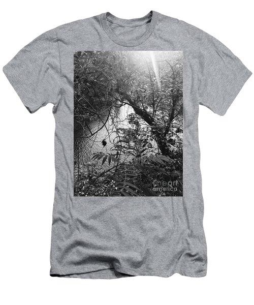 Men's T-Shirt (Athletic Fit) featuring the photograph Naturescape Black And White by Rachel Hannah