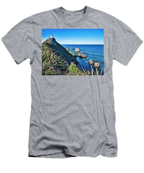 Men's T-Shirt (Athletic Fit) featuring the photograph Nugget Point Lighthouse 2 - Catlins - New Zealand by Steven Ralser