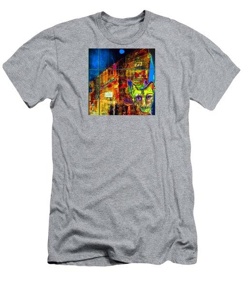 Oliver Night Cat Men's T-Shirt (Athletic Fit)
