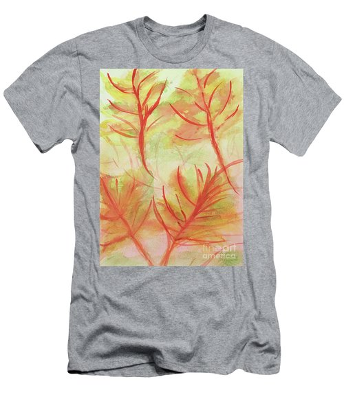 Orange Fanciful Leaves Men's T-Shirt (Athletic Fit)