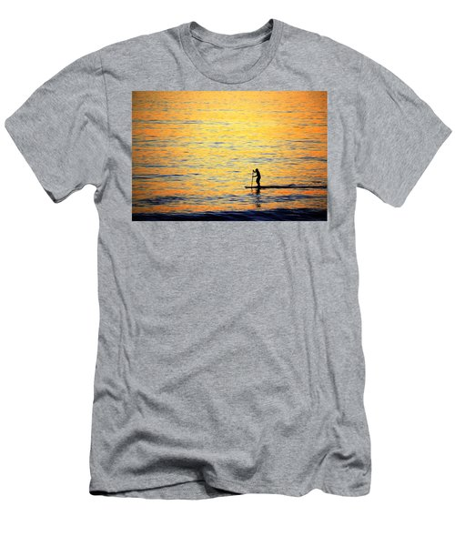 Men's T-Shirt (Athletic Fit) featuring the photograph Paddle Boarder Malibu by John Rodrigues