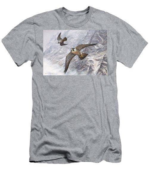 Pair Of Peregrine Falcons In Flight Men's T-Shirt (Athletic Fit)