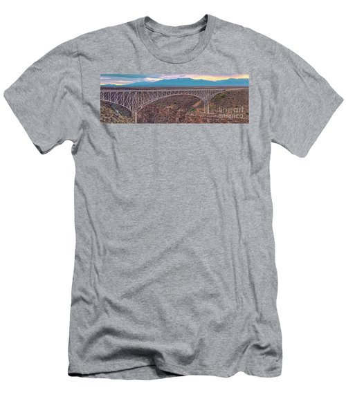 Panorama Of The Rio Grande Del Norte Gorge Bridge And Sangre De Cristo Mountains - Taos New Mexico Men's T-Shirt (Athletic Fit)