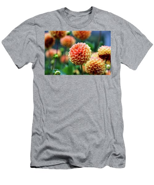 Peach Dahlias Men's T-Shirt (Athletic Fit)