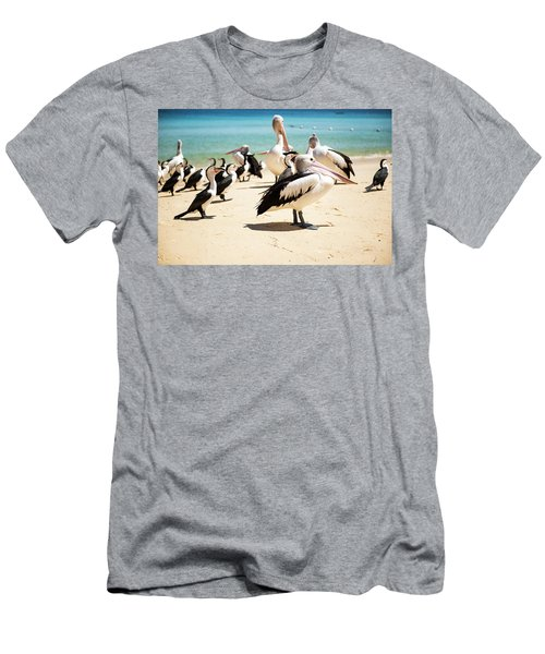 Men's T-Shirt (Athletic Fit) featuring the photograph Pelicans During The Day by Rob D Imagery