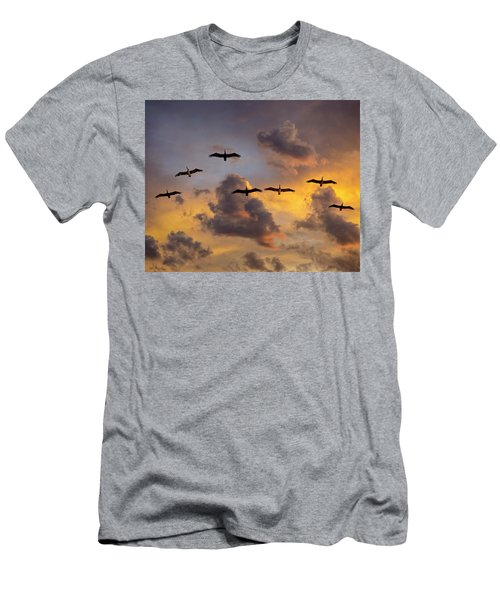 Men's T-Shirt (Athletic Fit) featuring the photograph Pelicans In The Clouds by John Rodrigues