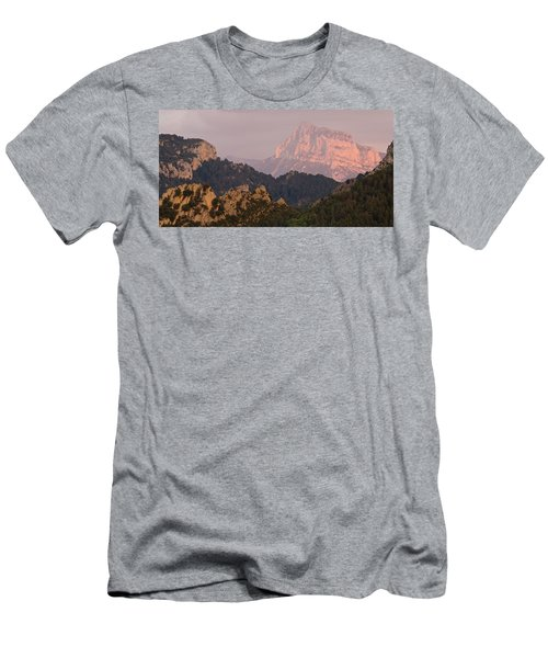 Men's T-Shirt (Athletic Fit) featuring the photograph Pena Montanesa Sunset Panorama by Stephen Taylor