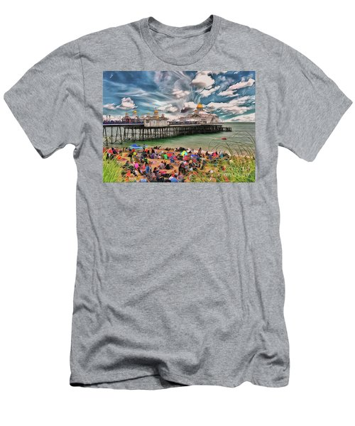 Men's T-Shirt (Athletic Fit) featuring the photograph People And The Pier by Leigh Kemp