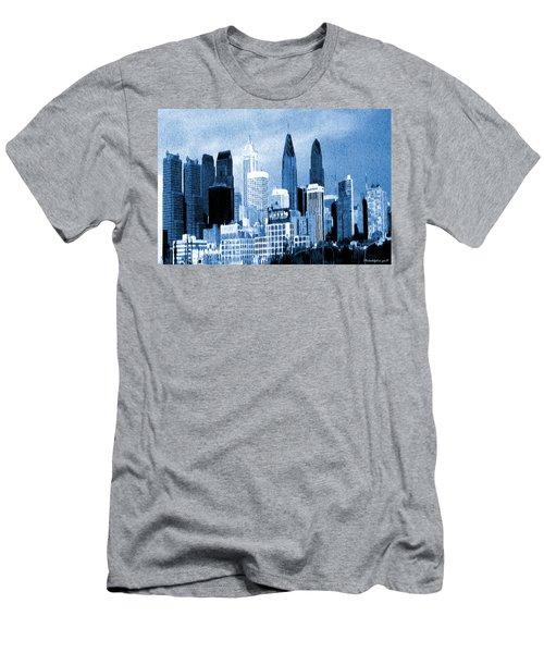 Philadelphia Blue - Watercolor Painting Men's T-Shirt (Athletic Fit)