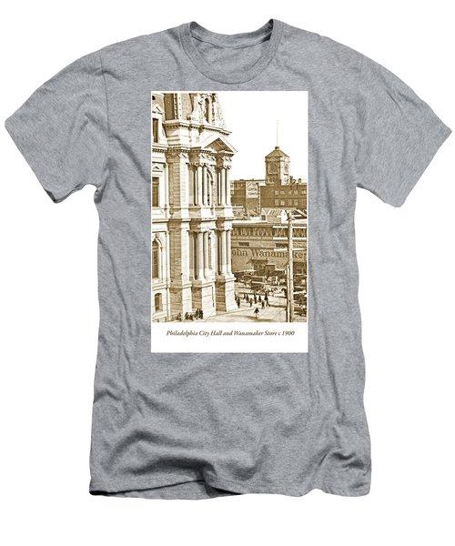 Philadelphia City Hall And Wanamaker Store C 1900 Vintage Photog Men's T-Shirt (Athletic Fit)