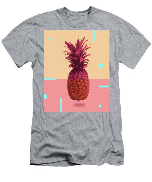 Pineapple Print - Tropical Decor - Botanical Print - Pineapple Wall Art - Pink, Peach - Minimal Men's T-Shirt (Athletic Fit)