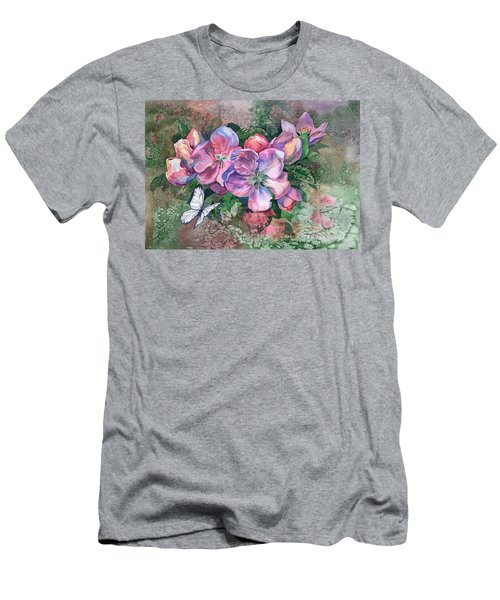 Pink Bloom Apple Tree And Butterfly Men's T-Shirt (Athletic Fit)