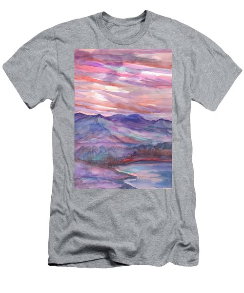 Pink Mountain Landscape Men's T-Shirt (Athletic Fit)