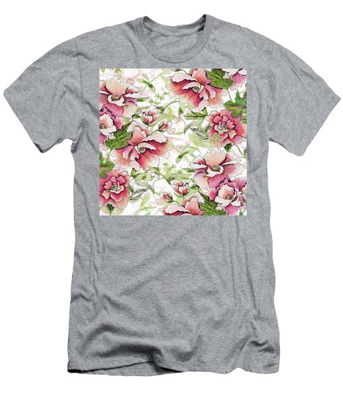 Pink Peony Blossoms Men's T-Shirt (Athletic Fit)