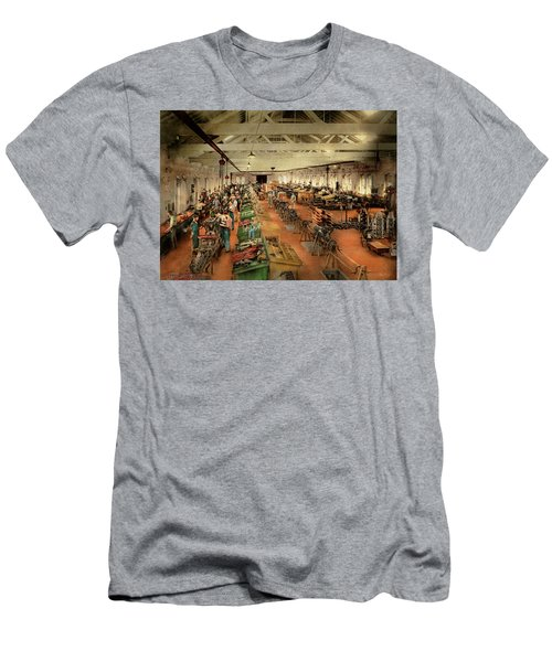 Men's T-Shirt (Athletic Fit) featuring the photograph Plane - Factory - Aircraft Repair 1919 by Mike Savad