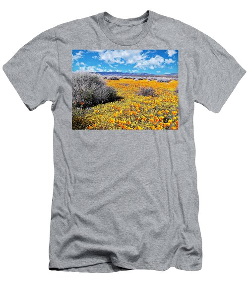Poppy Patch - California Men's T-Shirt (Athletic Fit)