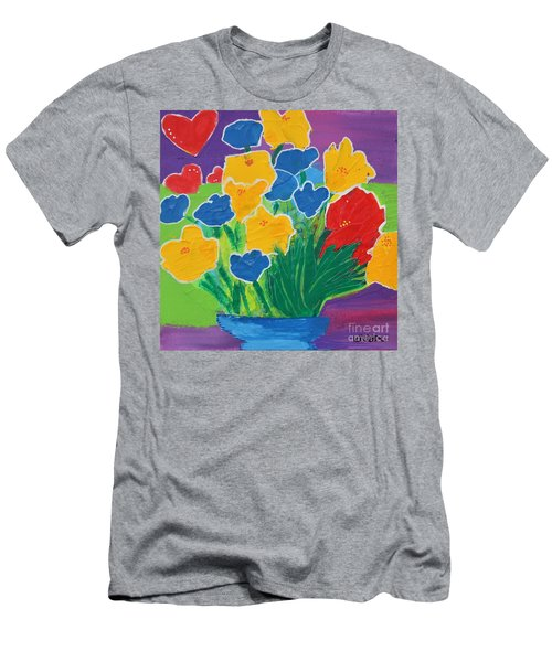 Men's T-Shirt (Athletic Fit) featuring the painting Primary Bouquet by Kim Nelson