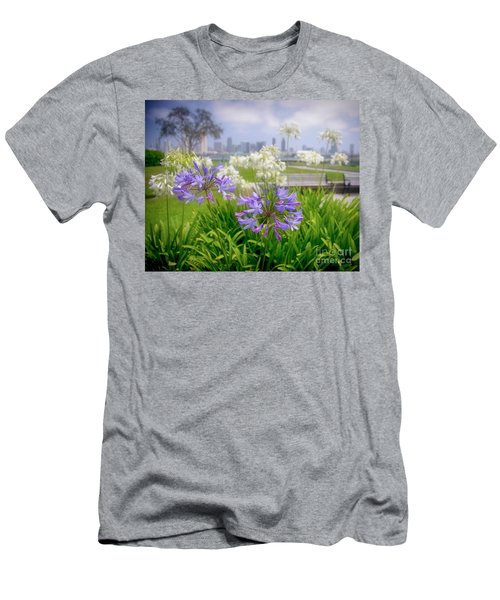 Purple Flowers In San Diego Men's T-Shirt (Athletic Fit)