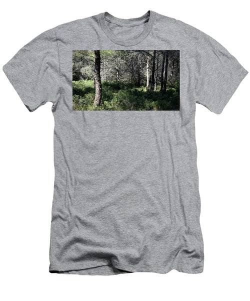 Men's T-Shirt (Athletic Fit) featuring the photograph Quiet Light In The Forest by August Timmermans
