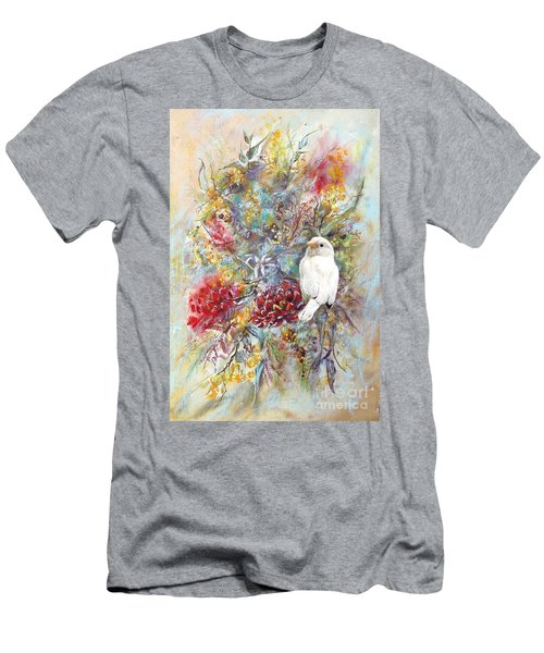 Men's T-Shirt (Athletic Fit) featuring the painting Rare White Sparrow - Portrait View. by Ryn Shell