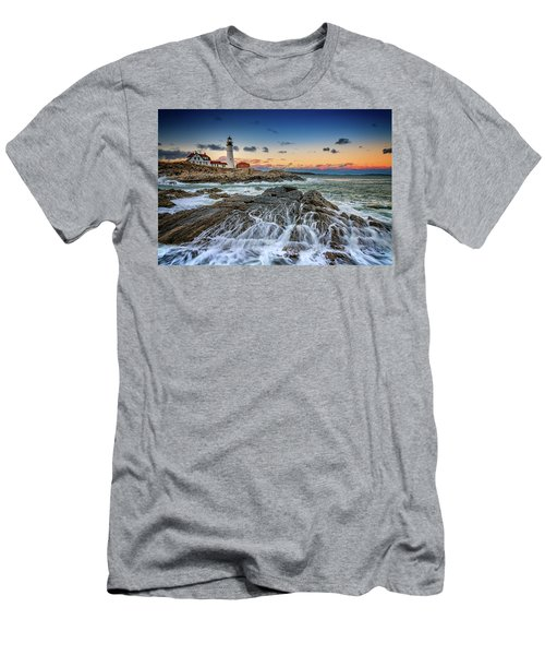 Men's T-Shirt (Athletic Fit) featuring the photograph Receding Cascade At Portland Head by Rick Berk