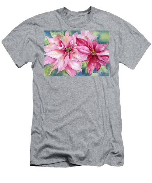 Red And Pink Poinsettias Men's T-Shirt (Athletic Fit)