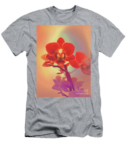 Men's T-Shirt (Athletic Fit) featuring the mixed media Red Orchid  by Rachel Hannah