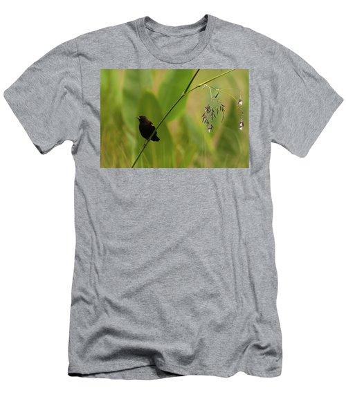 Red-winged Blackbird On Alligator Flag Men's T-Shirt (Athletic Fit)