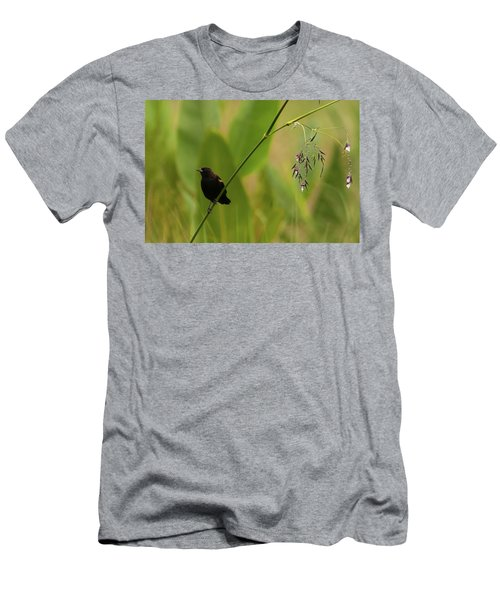 Red-winged Blackbird On Alligator Flag Men's T-Shirt (Athletic Fit)