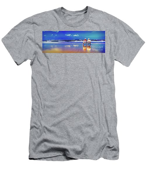 Men's T-Shirt (Athletic Fit) featuring the photograph Retieiees Lawn Chairs On The Beach Surf  by Tom Jelen