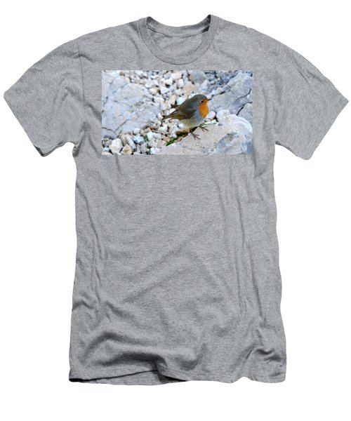 Men's T-Shirt (Athletic Fit) featuring the photograph Robin Visit by August Timmermans