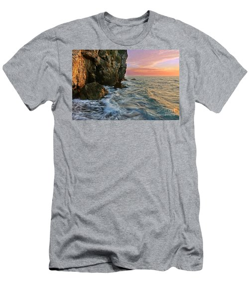 Men's T-Shirt (Athletic Fit) featuring the photograph Rocky Cliffs And Waves During Sunset by Yali Shi