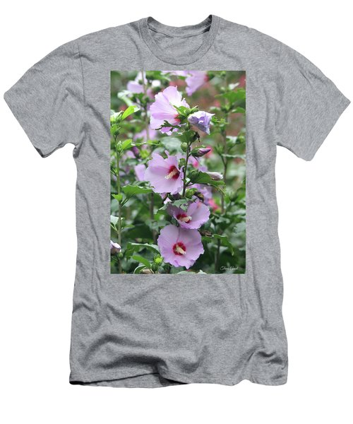 Men's T-Shirt (Athletic Fit) featuring the photograph Rose Of Sharon Flowers by Trina Ansel