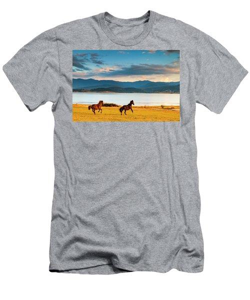 Running Horses Men's T-Shirt (Athletic Fit)