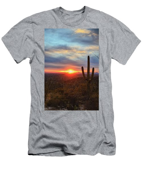 Saguaro Cactus And Tucson At Sunset Men's T-Shirt (Athletic Fit)