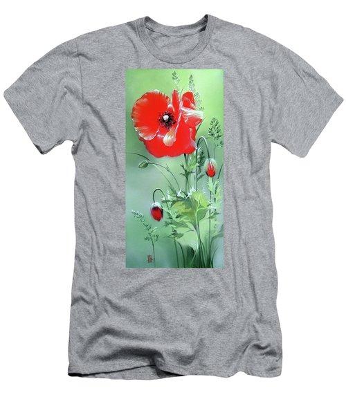 Scarlet Poppy Flower Men's T-Shirt (Athletic Fit)