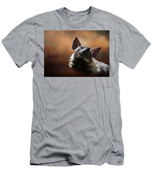 Men's T-Shirt (Athletic Fit) featuring the photograph Scenting The Air - Striped Hyena by Debi Dalio