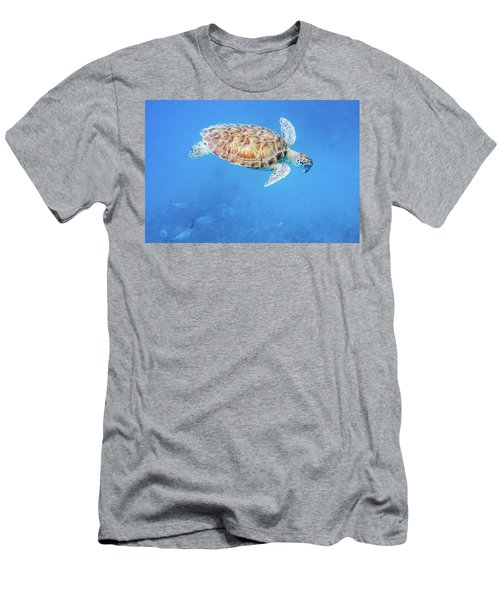 Sea Turtle And Fish Swimming Men's T-Shirt (Athletic Fit)