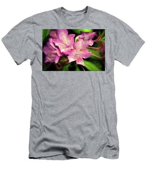 Men's T-Shirt (Athletic Fit) featuring the mixed media Soft Rhodie Blooms 6 by Lynda Lehmann