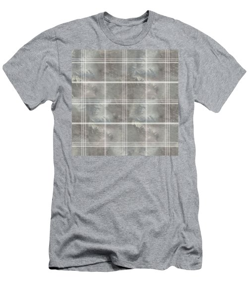 Soft Textured Cream And Blue Plaid Men's T-Shirt (Athletic Fit)