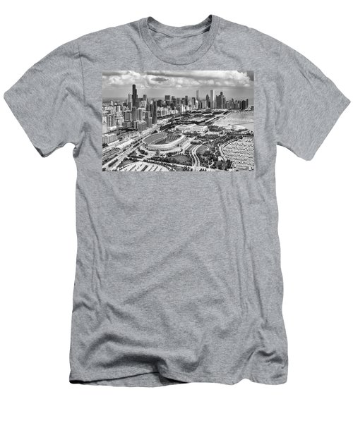 Men's T-Shirt (Athletic Fit) featuring the photograph Soldier Field And Chicago Skyline Black And White by Adam Romanowicz