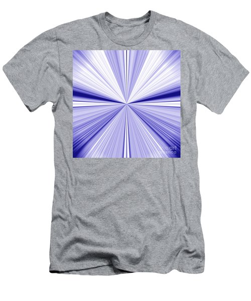 Starburst Light Beams In Blue And White Abstract Design - Plb455 Men's T-Shirt (Athletic Fit)