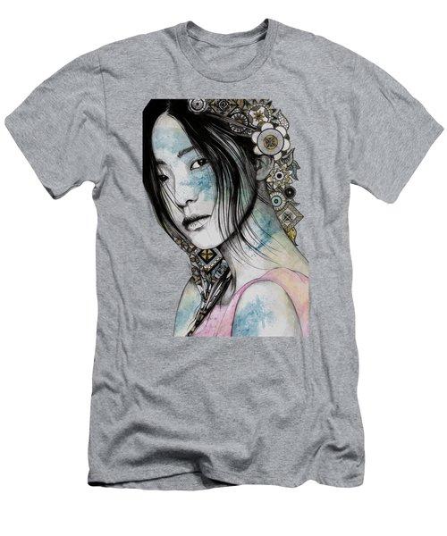 Stoic - Asian Girl Street Art Portrait With Mandala Doodles Men's T-Shirt (Athletic Fit)