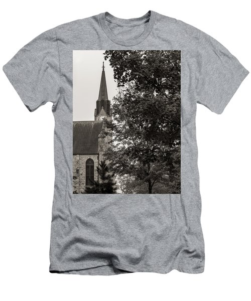 Men's T-Shirt (Athletic Fit) featuring the photograph Stone Chapel - Black And White by Allin Sorenson