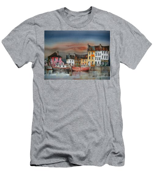 Men's T-Shirt (Athletic Fit) featuring the painting Sunset On  Cloondra, Co. Longford by Val Byrne