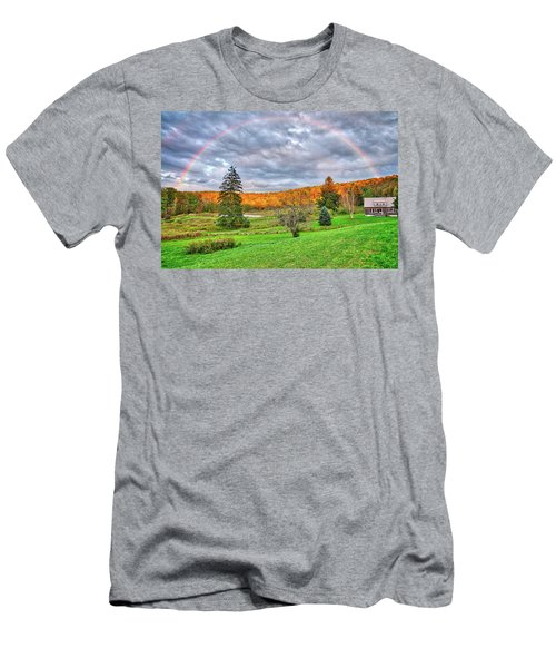 Men's T-Shirt (Athletic Fit) featuring the photograph Sunset Storm Rainbow - Upstate New York by Lynn Bauer