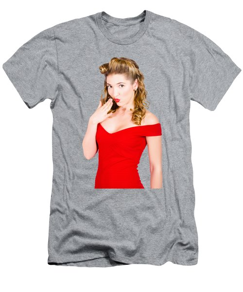 Surprised Retro Pinup Girl On Pink Background Men's T-Shirt (Athletic Fit)