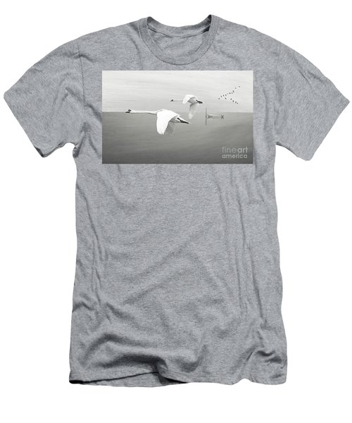 Swans At Sunrise Bw Men's T-Shirt (Athletic Fit)
